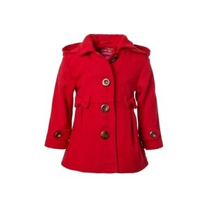 Pink Platinum Girls Bow accent Peacoat wit…